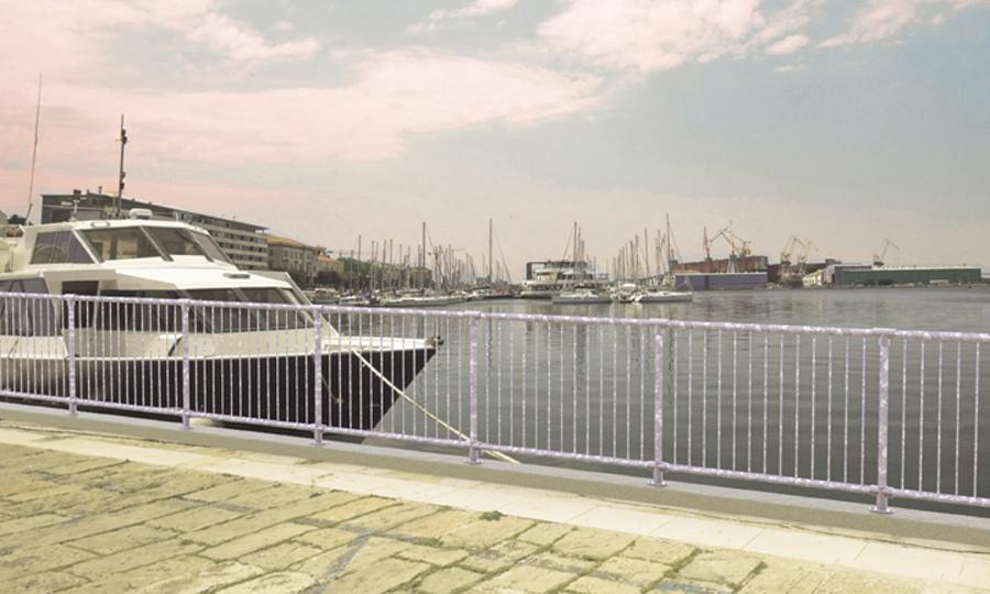 Zinka - prisvärt galvaniserat räcke offentlig miljö